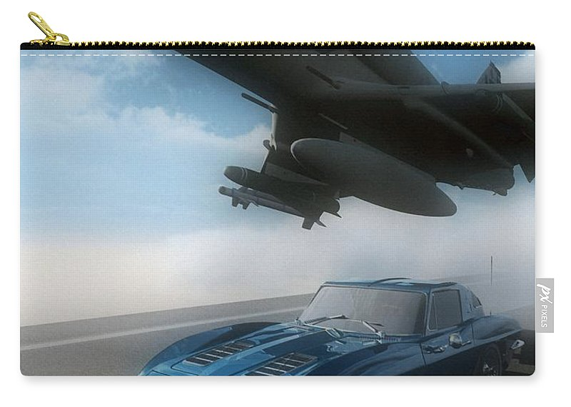 Automotive Carry-all Pouch featuring the digital art Wild Blue by Richard Rizzo