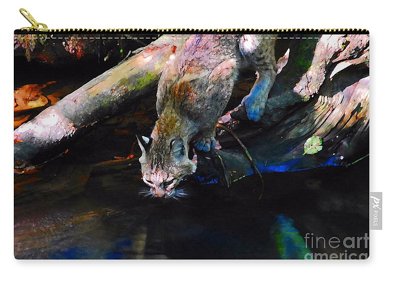 Cat.wild Carry-all Pouch featuring the photograph Wild Cat Drinking by David Lee Thompson