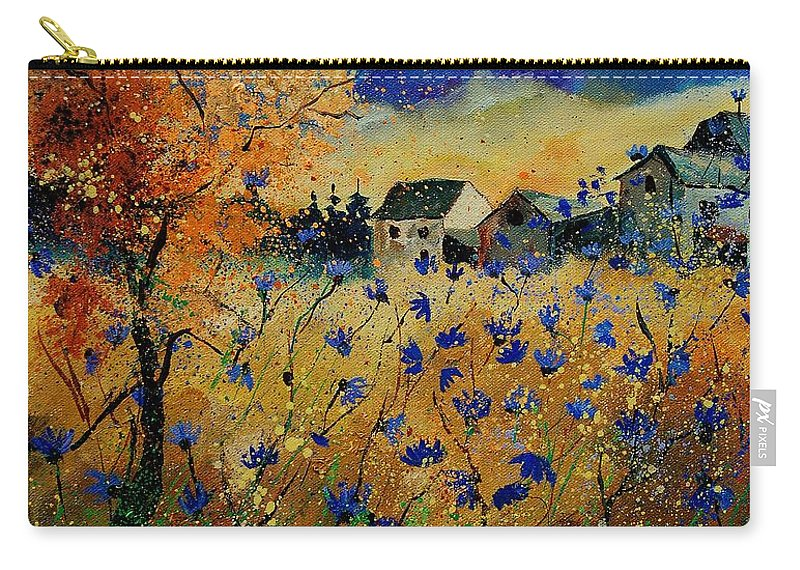 Flowers Carry-all Pouch featuring the painting Wild Chicorees 56 by Pol Ledent