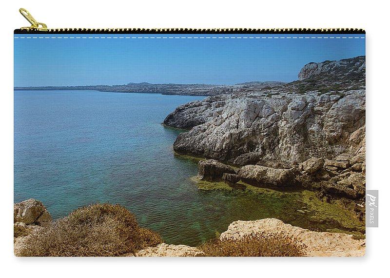 Natalya Antropova Carry-all Pouch featuring the photograph Wild Coast Cyprus by Natalya Antropova