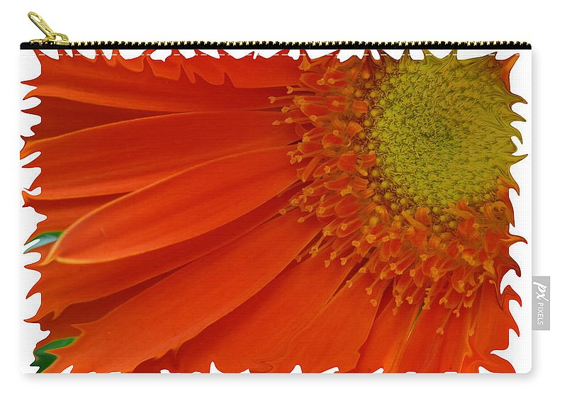 Gerber Daisy Orange Yellow Digital Art Photograph Photography Photographer Flower Plant Nature Carry-all Pouch featuring the photograph Wild Daisy by Shari Jardina