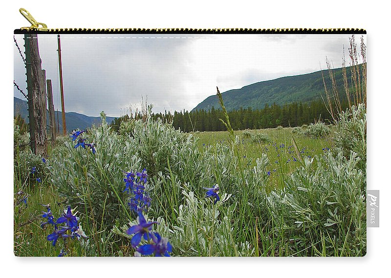 Wild Flowers Carry-all Pouch featuring the photograph Wild Delphinium by Heather Coen