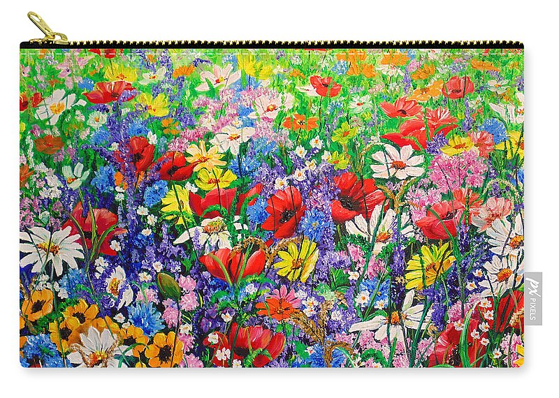 Wild Flowers Carry-all Pouch featuring the painting Wild Flower Meadow by Karin Dawn Kelshall- Best