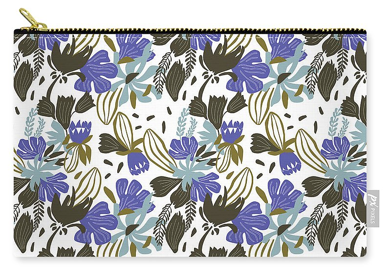 Background; Seamless; Wallpaper; Pattern; Illustration; Floral; Design; Flower; Nature; Texture; Vector; Abstract; Decoration; Summer; Plant; Leaf; Textile; Beauty; Drawing; Spring; Blossom; Art; Natural; Ornament; Beautiful; Floral Pattern; Pattern Vector; Wild Flowers; Female; Small; Patterns; Fashion; Fabric; Print; Green; Fresh; Paper; Elegance; Decor; Garden; Field; Repeat; Wrapping; Ornamental; Vintage; Retro Carry-all Pouch featuring the tapestry - textile Wild Flower by Zoia Ulazovska