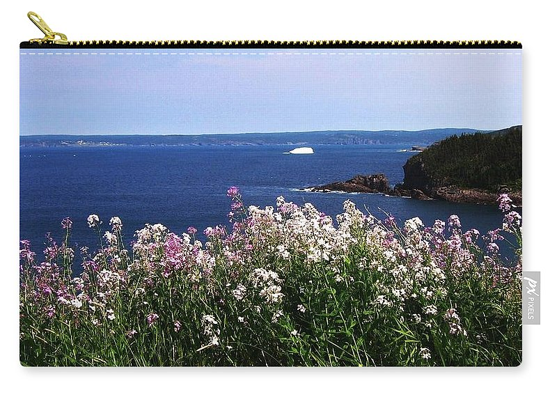 Photograph Iceberg Wild Flower Atlantic Ocean Newfoundland Carry-all Pouch featuring the photograph Wild Flowers And Iceberg by Seon-Jeong Kim