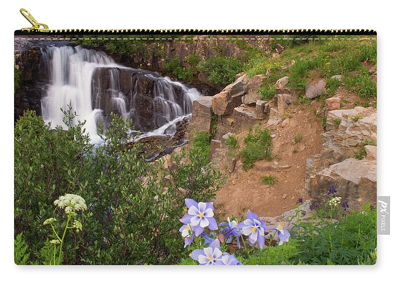 Colorado Carry-all Pouch featuring the photograph Wild Flowers And Waterfalls by Steve Stuller