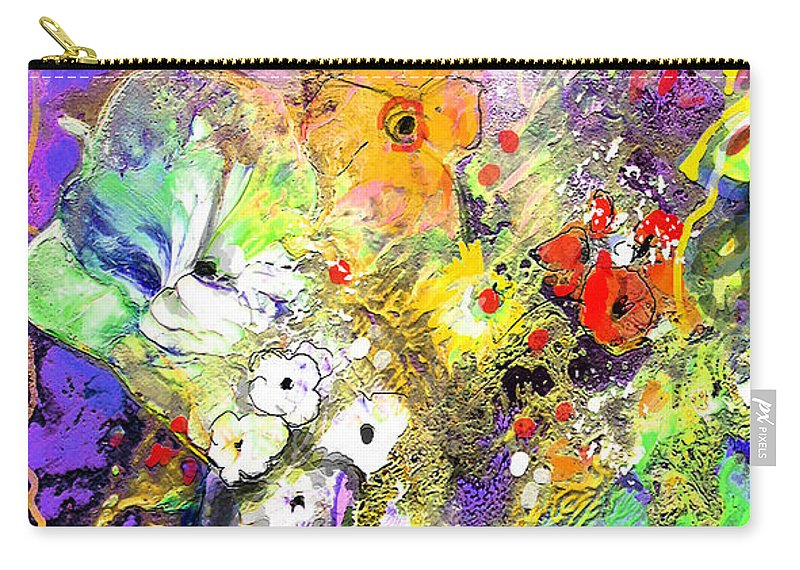 Still Life Carry-all Pouch featuring the painting Wild Flowers Bouquet 02 by Miki De Goodaboom
