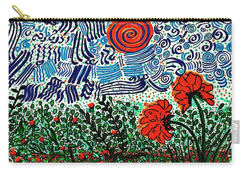 Flower Carry-all Pouch featuring the drawing Wild Flowers Under Wild Sky by Sarah Loft