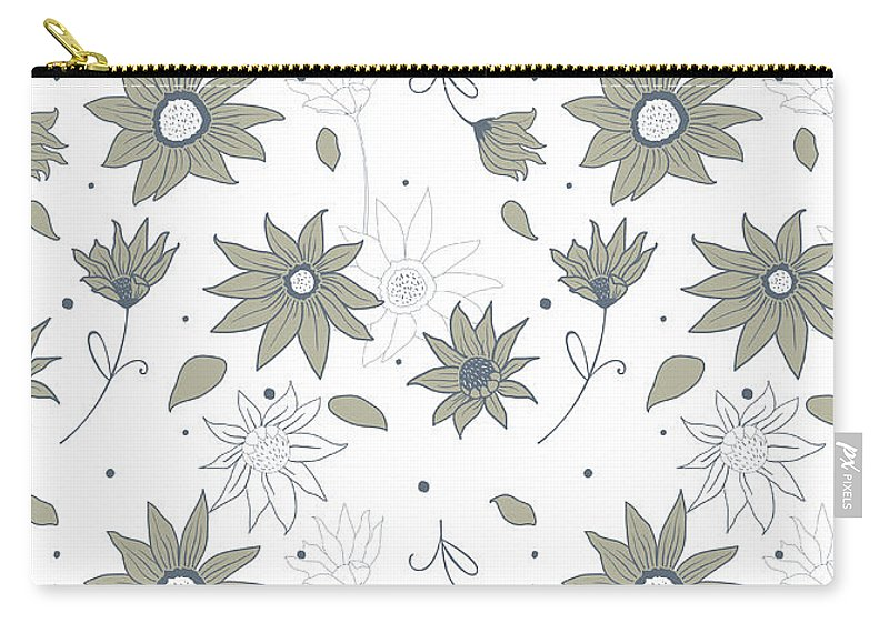 Background; Seamless; Wallpaper; Pattern; Illustration; Floral; Design; Flower; Nature; Texture; Vector; Abstract; Decoration; Summer; Plant; Leaf; Textile; Beauty; Drawing; Spring; Blossom; Art; Natural; Ornament; Beautiful; Floral Pattern; Pattern Vector; Wild Flowers; Female; Small; Patterns; Fashion; Fabric; Print; Green; Fresh; Paper; Elegance; Decor; Garden; Field; Repeat; Wrapping; Ornamental; Vintage; Retro Carry-all Pouch featuring the tapestry - textile Wild Flowers by Zoia Ulazovska