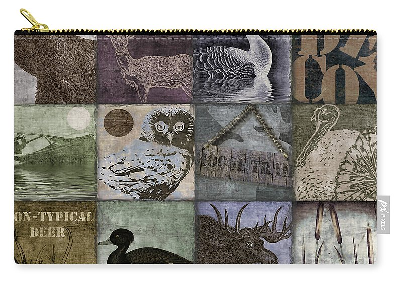 Mancave Carry-all Pouch featuring the painting Wild Game Patchwork II by Mindy Sommers