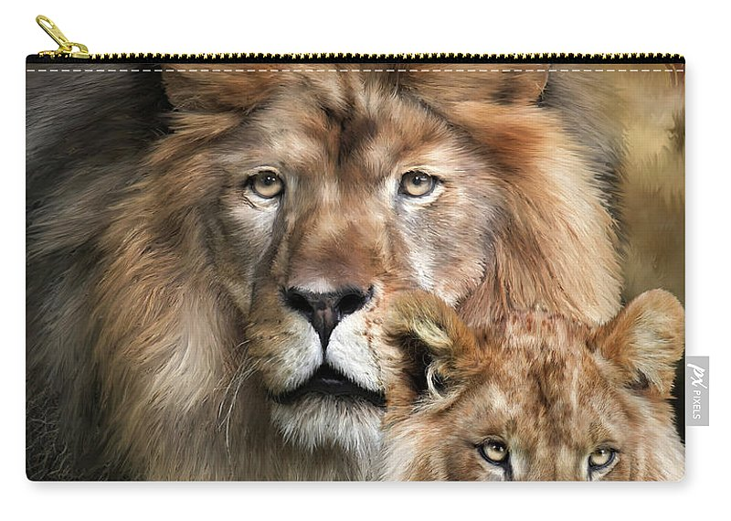 Lion Carry-all Pouch featuring the mixed media Wild Generations by Carol Cavalaris