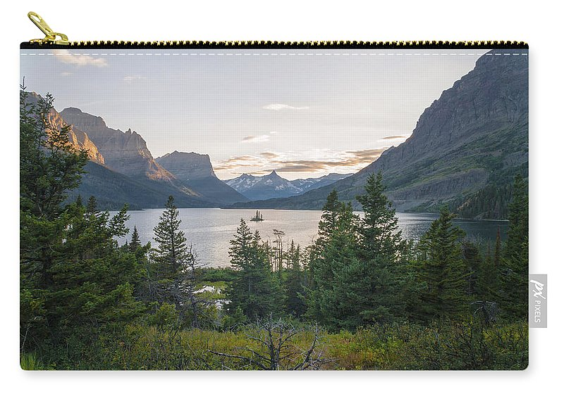 Wild Goose Island Carry-all Pouch featuring the photograph Wild Goose Island Sunset - Glacier National Park Montana by Brian Harig