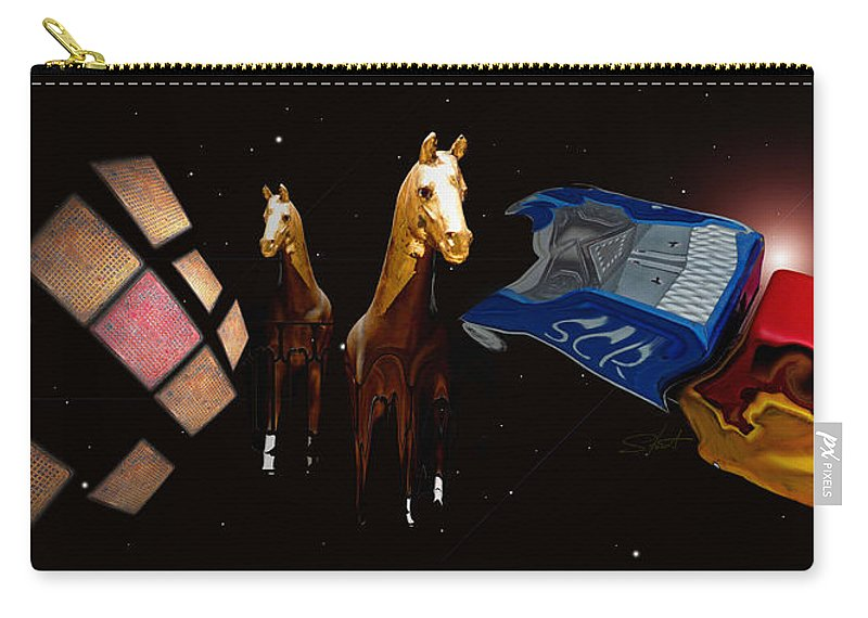 Truck Carry-all Pouch featuring the photograph Wild Horses by Charles Stuart
