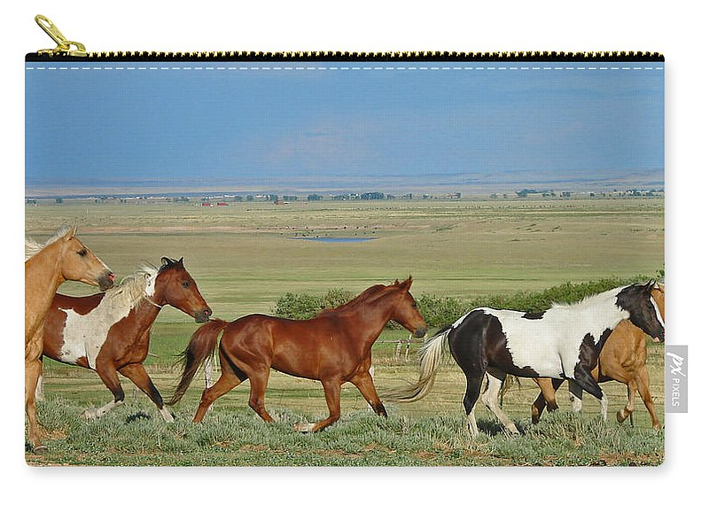 Herd Carry-all Pouch featuring the photograph Wild Horses Wyoming by Heather Coen