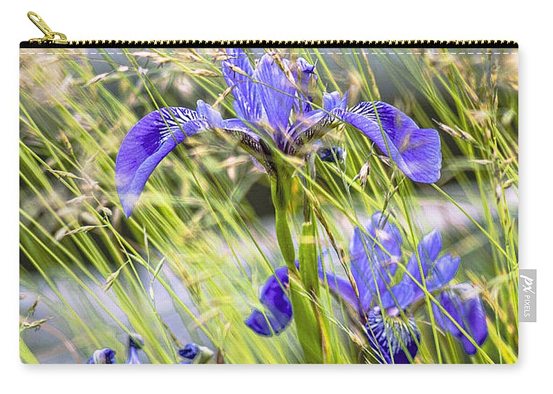 Wild Iris Carry-all Pouch featuring the photograph Wild Irises by Marty Saccone