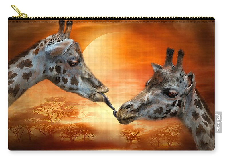 Giraffe Carry-all Pouch featuring the mixed media Wild Kisses by Carol Cavalaris