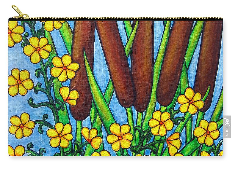 Cat Tails Carry-all Pouch featuring the painting Wild Medley by Lisa Lorenz