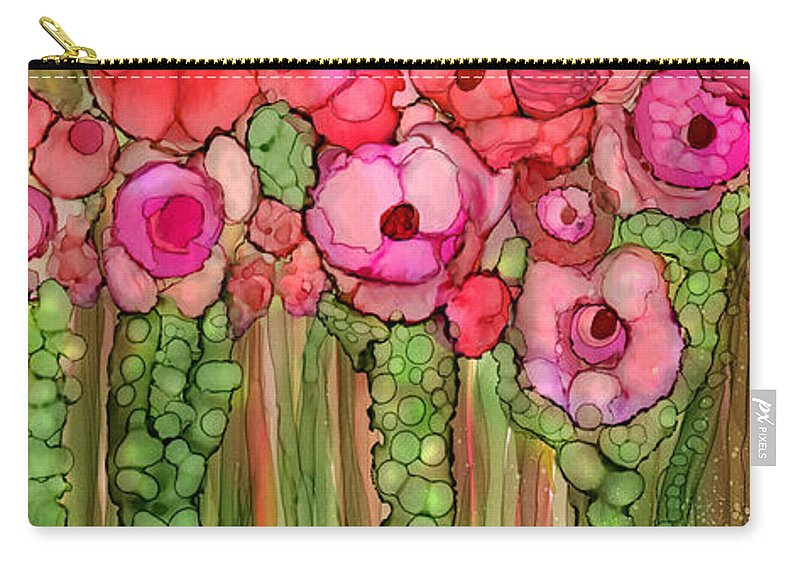 Carol Cavalaris Carry-all Pouch featuring the mixed media Wild Poppy Garden - Pink by Carol Cavalaris