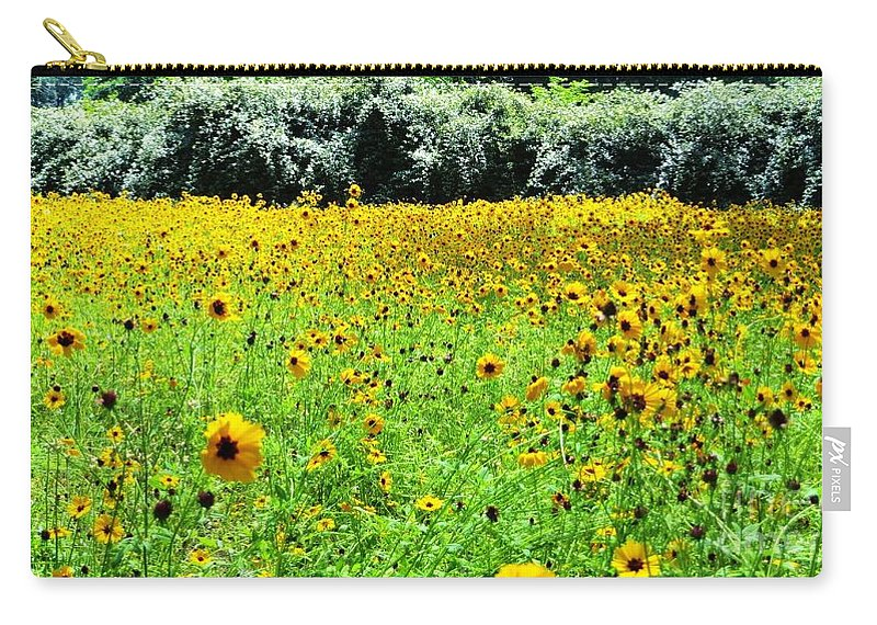 Wild Sunflowers Carry-all Pouch featuring the pyrography Wild Sunflowers by Tim Townsend