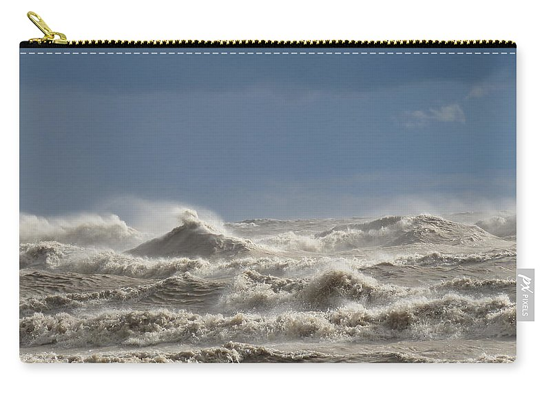 Waves On Lake Erie Carry-all Pouch featuring the photograph Wild Waves by Brenda Dowell