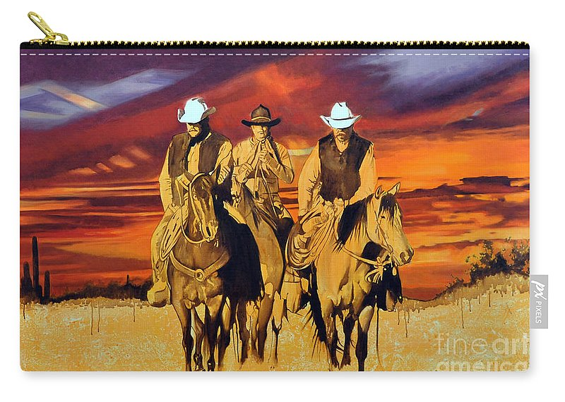 Cowboys Carry-all Pouch featuring the painting Arizona Sunset by Michael Stoyanov