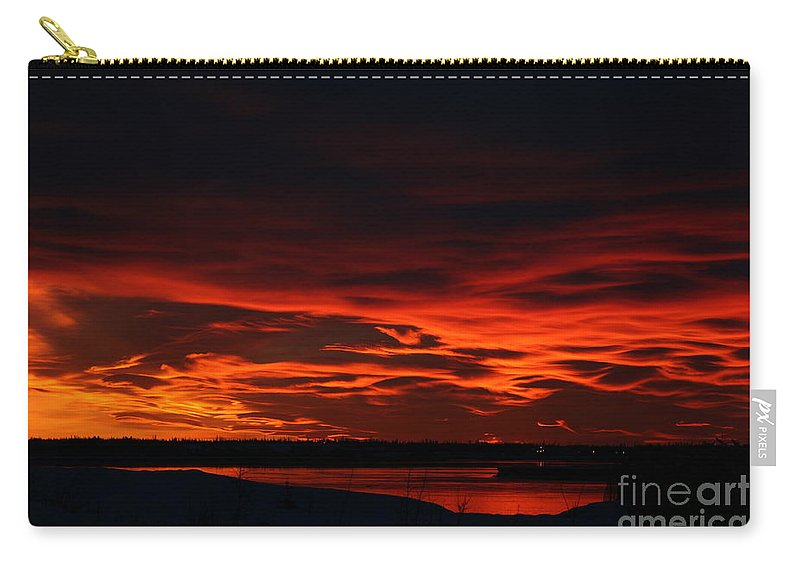 Alaska Carry-all Pouch featuring the photograph Wild Winter Sunset by Rick Monyahan