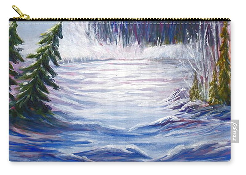 Northern Canada Winter Wilderness Forest Carry-all Pouch featuring the painting Wilderness by Joanne Smoley