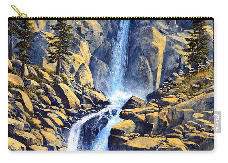 Wilderness Waterfall Carry-all Pouch featuring the painting Wilderness Waterfall by Frank Wilson