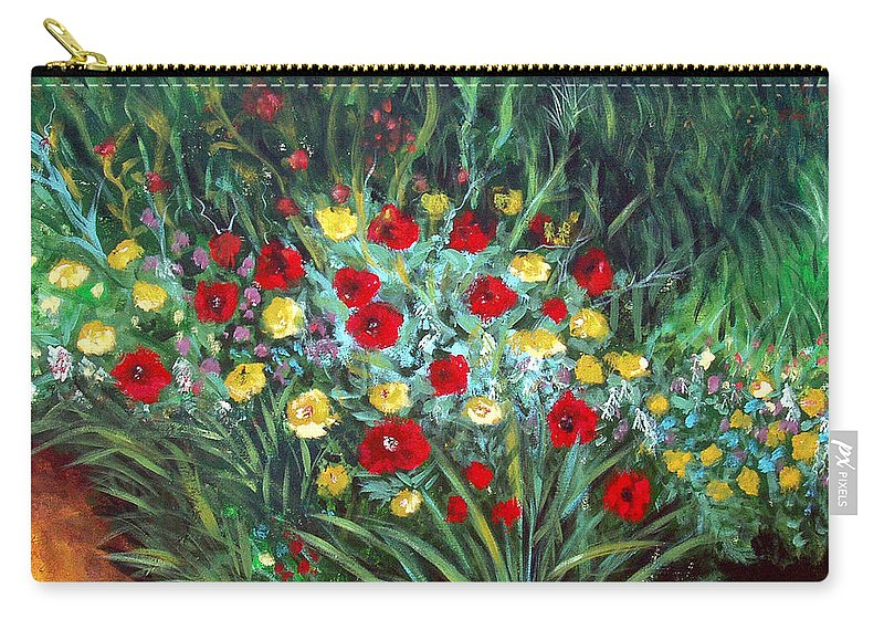 Abstract Carry-all Pouch featuring the painting Wildflower Garden 1 by Nancy Mueller