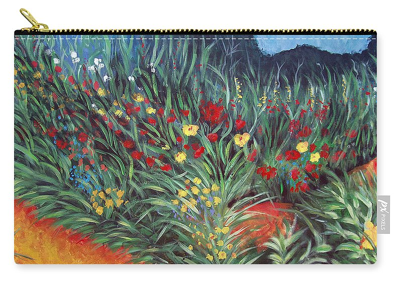 Landscape Carry-all Pouch featuring the painting Wildflower Garden 2 by Nancy Mueller