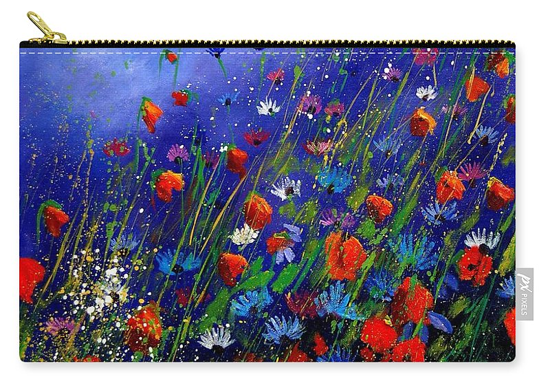 Poppies Carry-all Pouch featuring the painting Wildflowers 78 by Pol Ledent