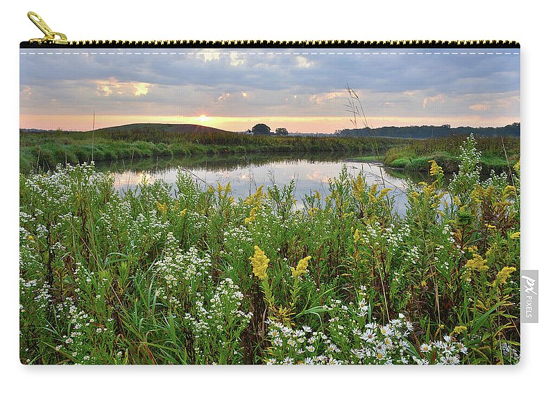 Glacial Park Carry-all Pouch featuring the photograph Wildflowers Adorn Nippersink Creek In Glacial Park by Ray Mathis