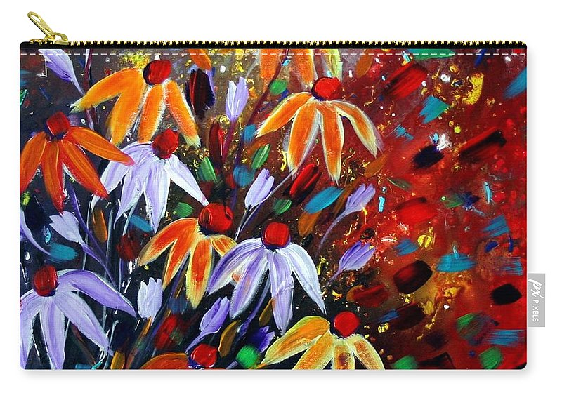 Flowers Carry-all Pouch featuring the painting Wildflowers At Sunset by Luiza Vizoli