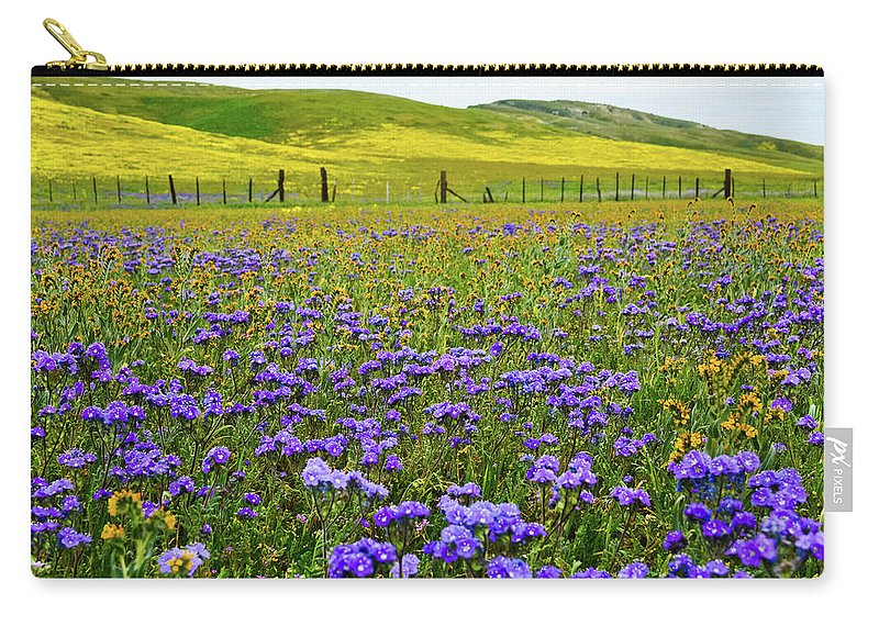 Carrizo Plain National Monument Carry-all Pouch featuring the photograph Wildflowers Carrizo Plain National Monument by Kyle Hanson
