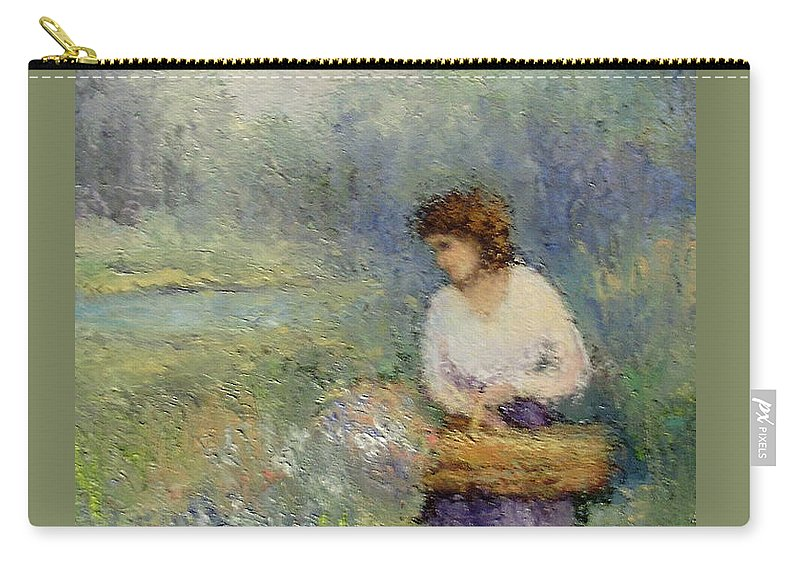 Woman Carry-all Pouch featuring the painting Wildflowers by Gail Kirtz