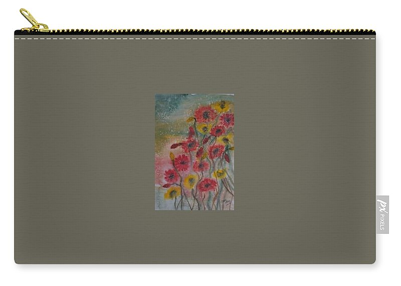 Watercolor Carry-all Pouch featuring the painting Wildflowers Still Life Modern Print by Derek Mccrea