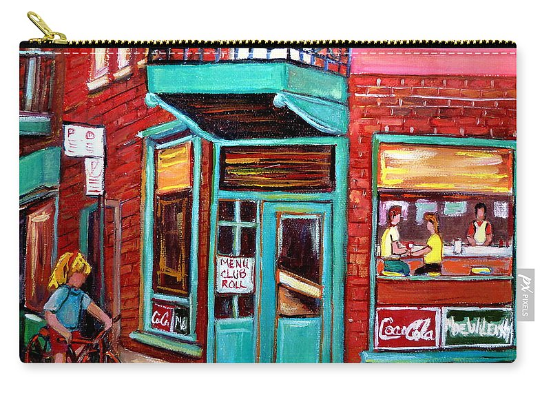 Wilensky\'s Cafe Carry-all Pouch featuring the painting Wilenskys Cafe On Fairmount In Montreal by Carole Spandau