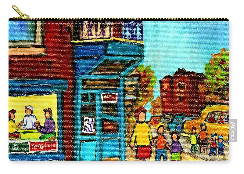 Montreal Carry-all Pouch featuring the painting Wilensky's Counter With School Bus Montreal Street Scene by Carole Spandau