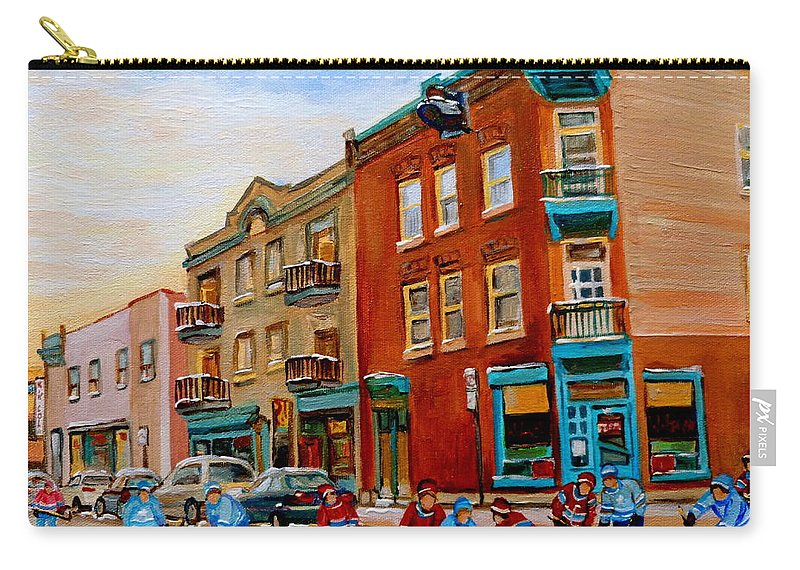 Wilenskys Deli Carry-all Pouch featuring the painting Wilensky's Street Hockey Game by Carole Spandau