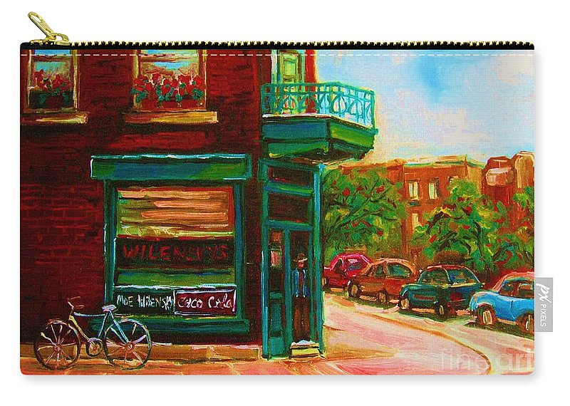 Wilenskys Carry-all Pouch featuring the painting Wilenskys With Red Geraniums by Carole Spandau