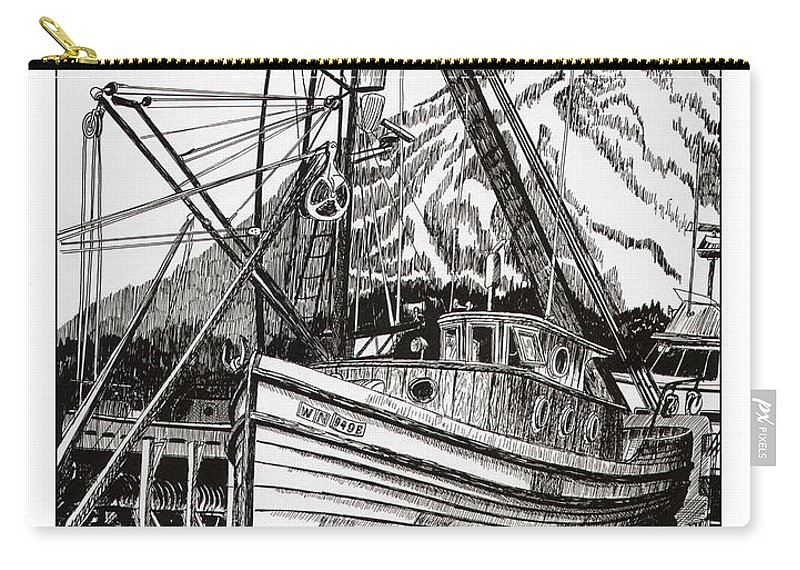 Nautical Shipyard Fishing Boats Carry-all Pouch featuring the drawing Will Fish Again Another Day by Jack Pumphrey