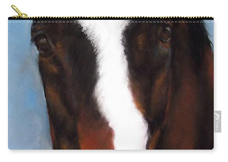 Horse Painting Carry-all Pouch featuring the painting Willie Duke by Frances Marino