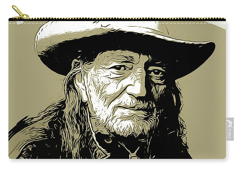 Willie Nelson Carry-all Pouch featuring the mixed media Willie by Greg Joens