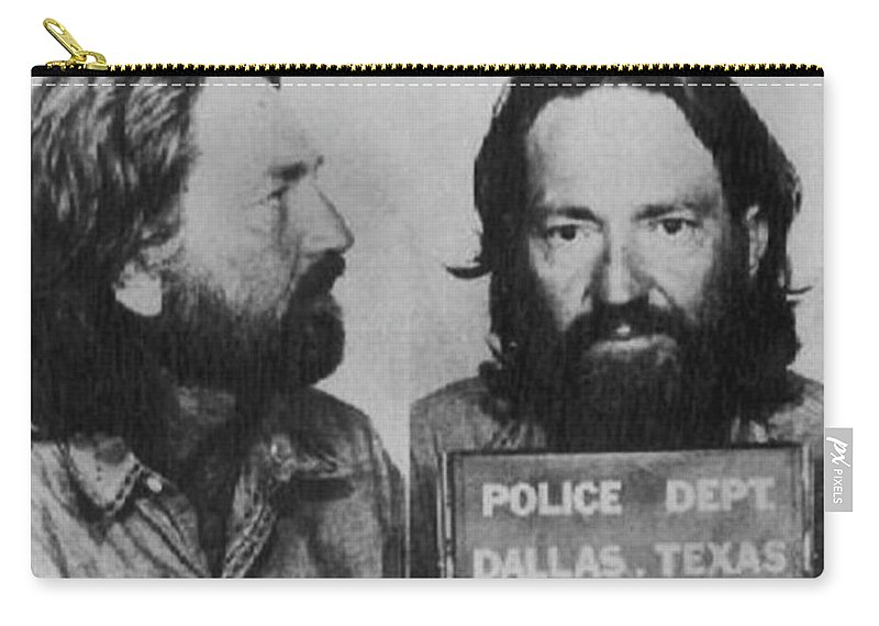 Willie Nelson Carry-all Pouch featuring the photograph Willie Nelson Mug Shot Horizontal Black And White by Tony Rubino