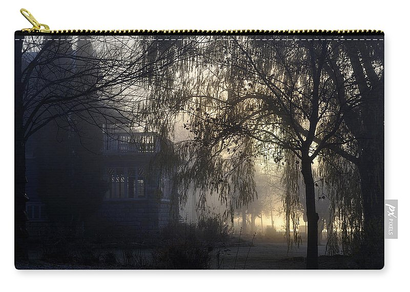 Fog Carry-all Pouch featuring the photograph Willow In Fog by Tim Nyberg