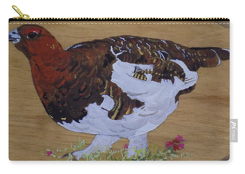 Alaska Carry-all Pouch featuring the painting Willow Ptarnagin by Paul Bashore