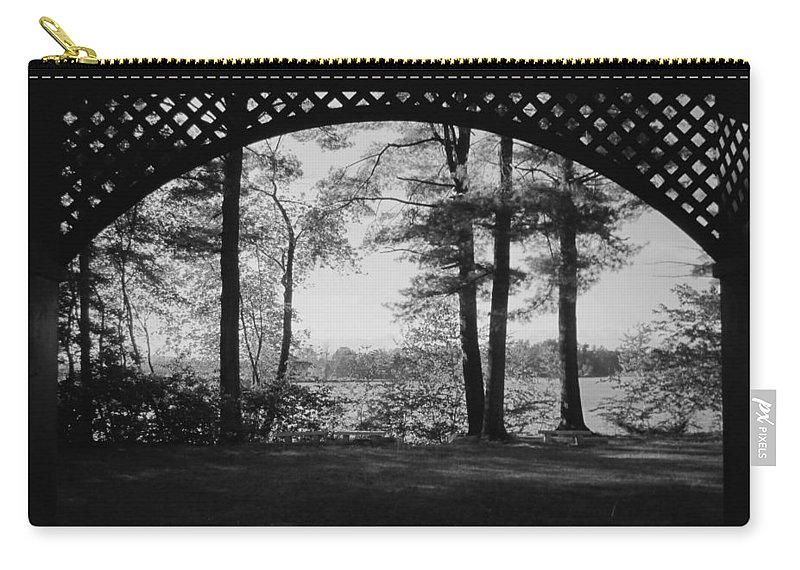 Wilson Pond Carry-all Pouch featuring the photograph Wilson Pond Framed In Black And White by MTBobbins Photography