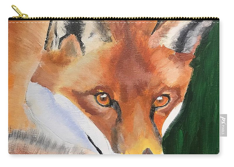 Fox Carry-all Pouch featuring the painting Wily Fox by Kathi Schwan