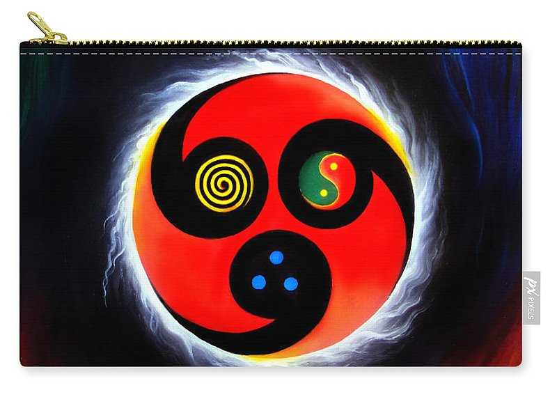 Wind Carry-all Pouch featuring the painting Wind And Stream. Energy. Monada by Sofia Metal Queen