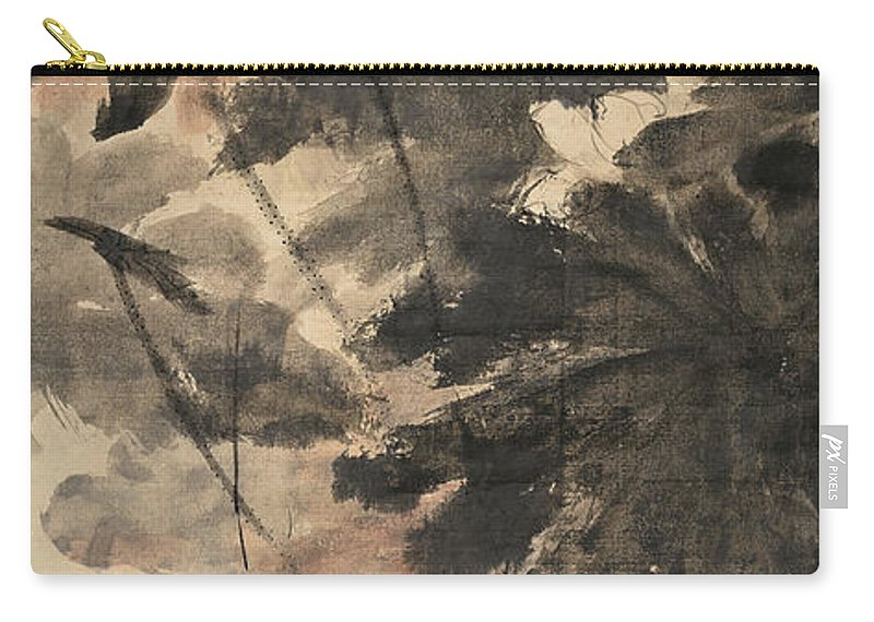 Lotus Plum Peony Flower Carry-all Pouch featuring the painting Wind In The Lotus by Zhang Daqian